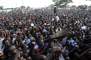 PF cadres chanting party slogans during the rally
