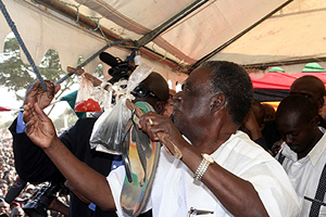 Mr sata during the PF rally at Woodlands stadium
