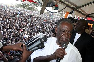 Mr Sata addressing the last rally