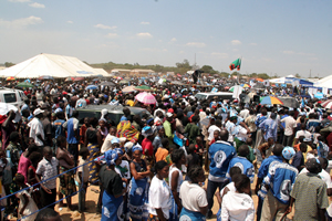 Part of the crowd that attended Mr Rupiah Banda's last campaign rally in Lusaka