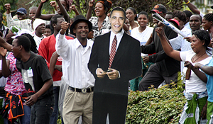 PF cadres carrying an Obama placard outside the Supreme Court grounds