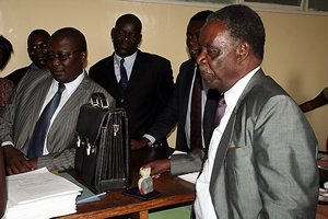 Mr Sata and his legal team in the Supreme Court registry