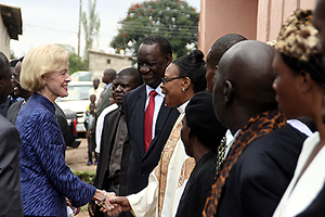 Australian Governor general Quentin Bryce is welcomed by CCZ general secretary Susan Matale for a church service in Lusaka's Matero compound