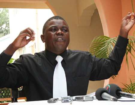 Leftist Progressive Party general secretary James Lukuku during the launch of the party in Lusaka