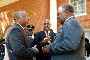 Nevers Mumba (L)  with former president Rupiah Banda