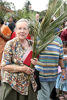 A christian during Palm sunday
