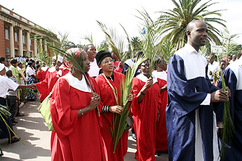 Christians walking during palm sunday