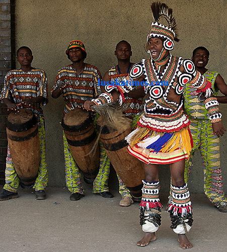 A traditional dance troupe performing dances at the Lusaka international airport
