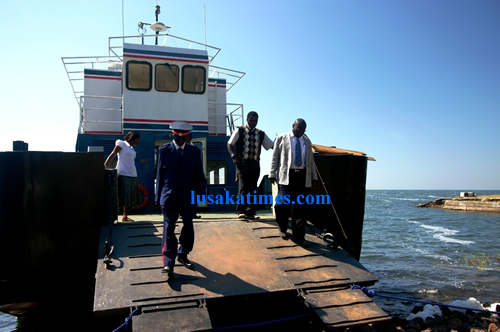 Luapula Permanent Secretary Jazzman Chikwakwa inspecting the newly renovated Post Boat on Lake Bangweulu with Samfya District Commissioner Godfrey Zimba.