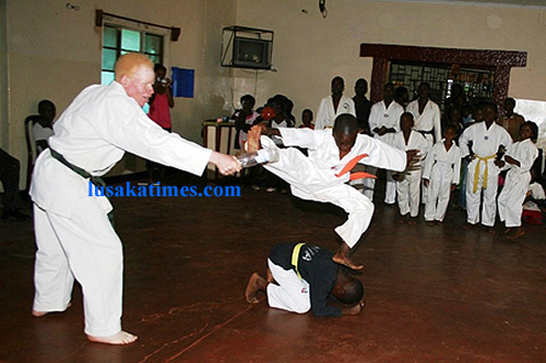 Young Alex Mukuka junior showing his fighting skills during a karate grading tournament at The Zambia Academy for Karate Kids International in Mansa at the weekend