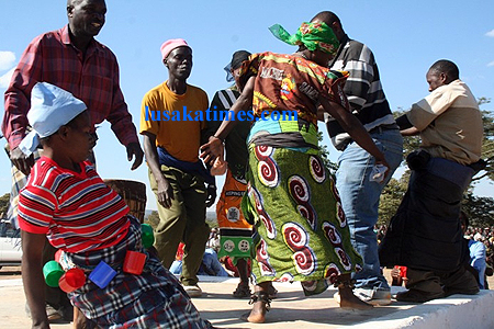 Kela dancing group performing at Mutomolo traditional ceremony in Mbala