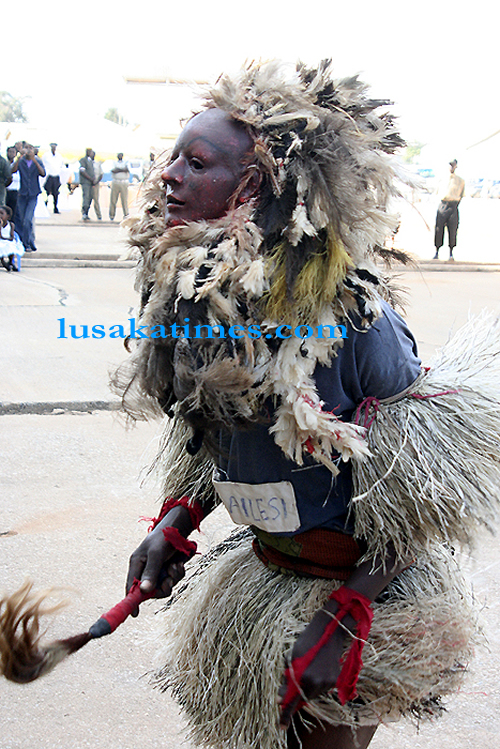 A nyau dancer during the Lusaka district agricultural and commercial show