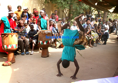 An Angolan refugee performing a traditional dance during the World Refugee Day in Lusaka