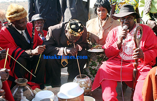 Senior chief Nsokolo innaugurates traditional beer chipumu at the Mutomolo traditional ceremony for the Mambwe people in Mbala