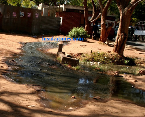 Effluent from sewer lines over-flowing at the University Teaching Hospital in Lusaka.
