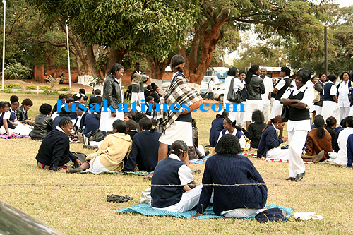 Bereaved families stranded outside the Brought In Dead block at the University Teaching Hospital because the health workers are on strike