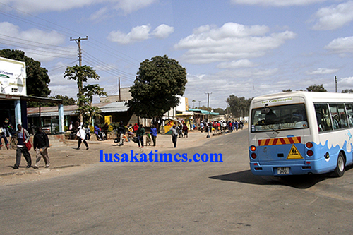 A bus making its way into Mazabuka town centre