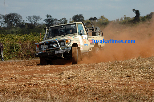 Azin Ticklay negotiating a curve during the 2009 Zambia motor rally in Chisamba.