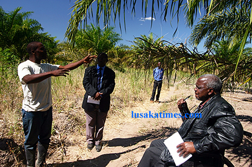 A palm oil farmer explaining the progress on the palm oil plantation project to Special Assistant to the President for Project Implementation and Monitoring Ben Kapita (on wheelchair) in Kawambwa District.