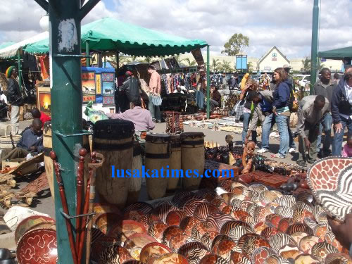 Assorted crafts for sale at the Lusaka Sunday Market
