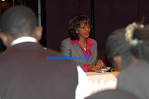 Former Local government and Housing minister Sylvia Masebo addressing journalists during a press briefing in Lusaka
