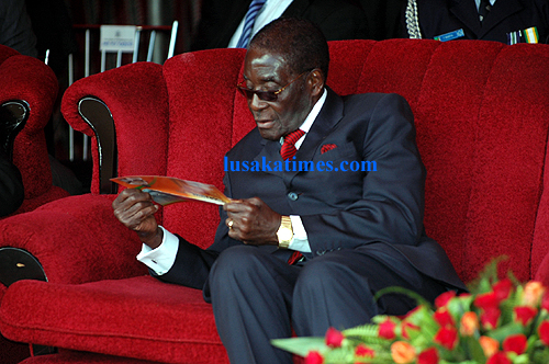 President Robert Mugabe during the Lwiindi Kuzyola traditional ceremony in Livingstone