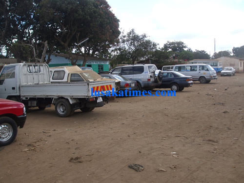 Cars parked at the local police station in Chunga for security