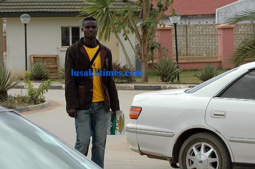 Zesco united striker Jonas Sakuwaha spotted walking into the Football House premises