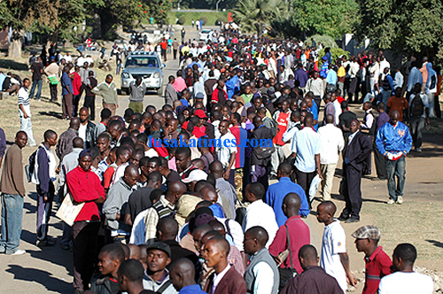 School leavers queuing up for police recruitment in Lusaka