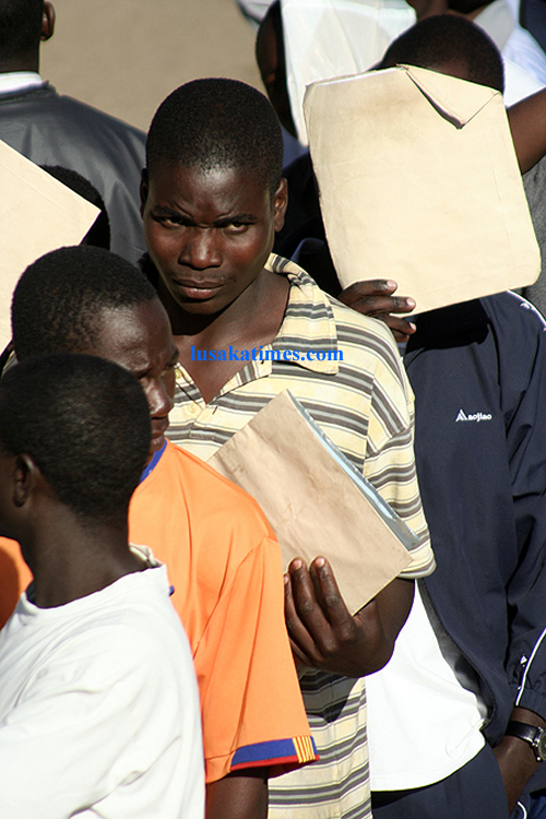 Police recruits queing up for recruitment in Lusaka
