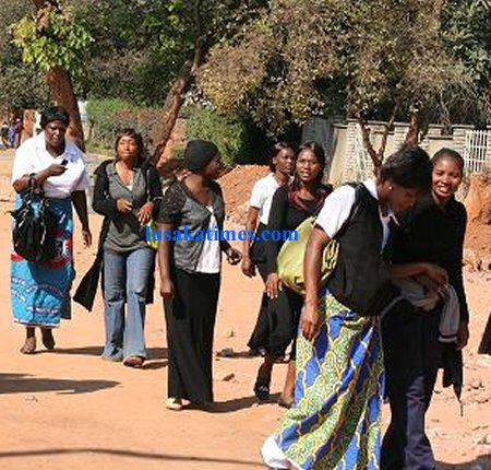 Some striking nurses dispersing after a meeting in Ndola