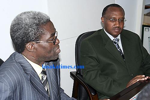 Local government minister Benny Tetamashimba and his counterpart from Rwanda Protais Musoni in Lusaka