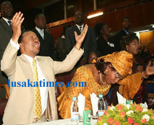 Second republican president Fredrick Chiluba and his wife Regina worshiping during thanks giving prayers in Lusaka at the weekend