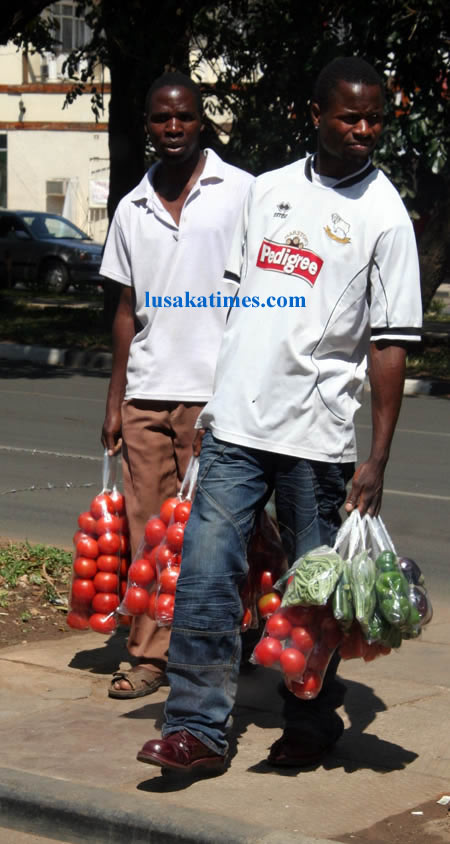 Hawkers peddling vegetables on the streets in Lusaka
