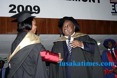 President Banda lauds Mrs Maureen Mwanawasa after she graduated with a master of business administration at the Ausrtalian Institute of Business Administration