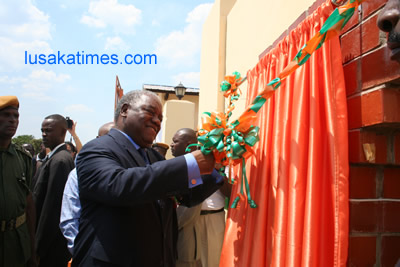 President Banda commissioning the electricity substation in Chambishi constructed at a cost of $28 m to power the economic zone.