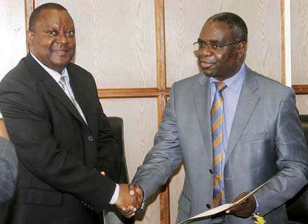 FILE: Foreign Affairs Minister Kabinga Pande receives credentials from new Africa Development Bank Country Representative Freddie Kwesiga at Ministry of Foreign Affairs in Lusaka recently