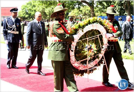 President Jacob Zuma about to lay a wreath at the Freedom statue in Lusaka