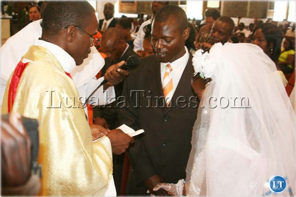 Five Couples Yesterday Exchanged Wedding Vows During The Morning Mass At Cathedral Of Child Jesus Catholic Parish In Lusaka Above Some