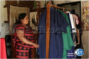 A Lusaka female entrepreneur displays her textile products at Lusaka Club