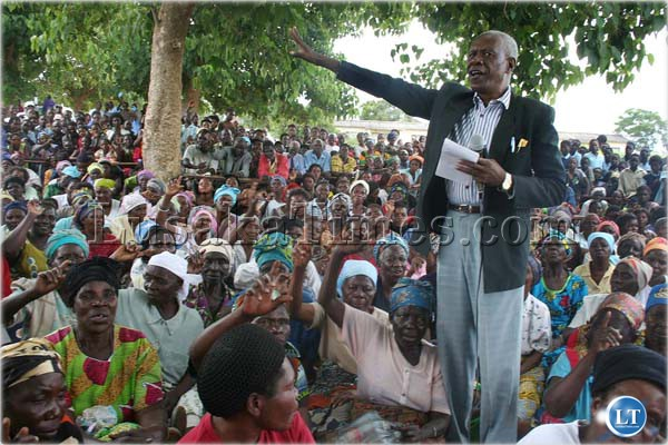 The hour has come to...MMD acting Lusaka Province Chairman William Banda addresses a meeting at Kabanana Basic School in Lusaka
