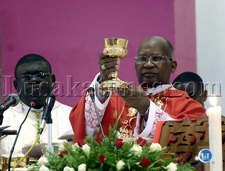 Cardinal Medardo Mazombwe celebrating his first mass as a cadinal in Lusaka