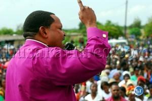 FILE: Orthodox Church Bishop Edward Chomba at a PF Rally  in Lusaka in January 2011