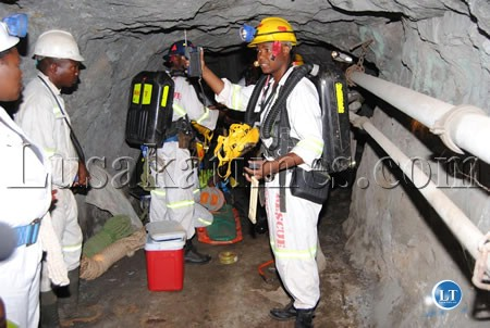 NCHANGA Mine rescure Team B Captain Jonathan Kolala inspects air underground during the Zambia Mine Rescure Association competetion at Namundwe Mine