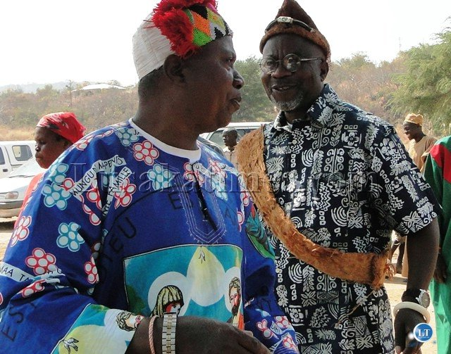 PARAMOUNT Chief Mpweto of the Bwile people in the Democratic Republic Congo talks to sub-chief (Natende) Dr. Katele Kalumba during the ceremony