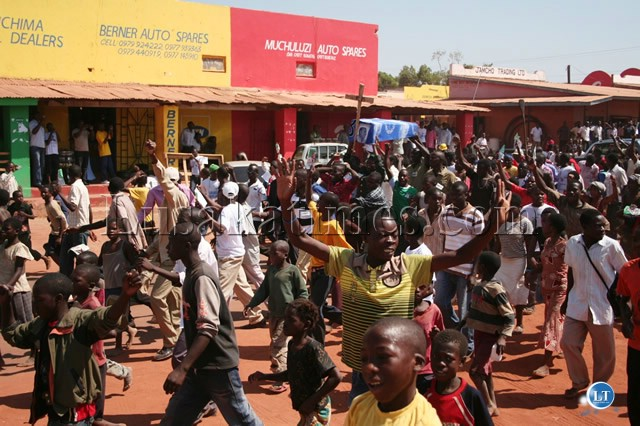 PATRIOTIC Front (PF) cadres celebrating the victory of their party at Kasama