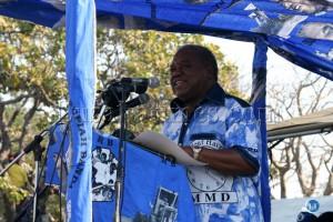 President Rupiah Banda address a public rally at Mulambwa Ground in Mongu