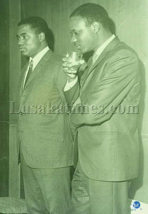 The Future of Zambia-Two finely dressed young politicians of the newly independent Zambia Rupiah Bwezani Banda (L) and Venon Johnson Mwaanga (R)