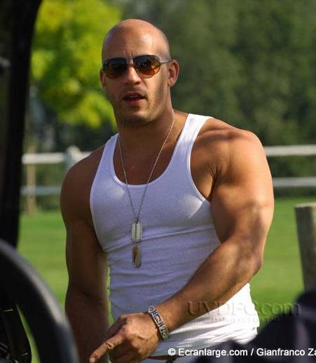 To get a body like Vin Diesel you need to workout alot and also eat alot .