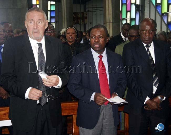 Vice president Guy Scott, Patrotic Front Secretary General Wynter Kabimba and Finanace Minister Alexander Chikwanda